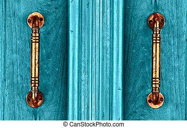 門把手, 由于, an, 老, 雙, 木頭, 門, 繪, 由于, 藍色