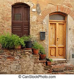 門階, 裝飾, 由于, 花盆, 到, the, tuscan, 房子, italy