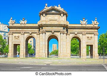 門, の, alcala, (puerta, de, alcala), 新古典主義, 記念碑, 中に, ∥