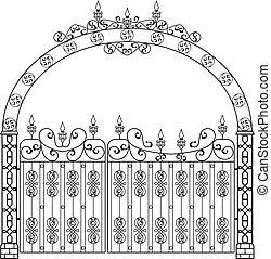 門, アーチ, 細工された鉄