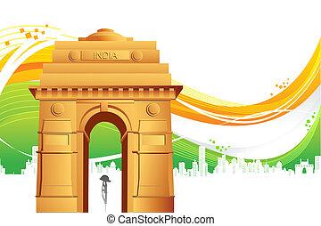 門, インド, 三色旗, 背景