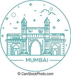 門, インド, 方法, イラスト, mumbai