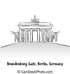門, ベルリン, brandenburg, グリーティングカード