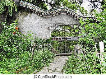 門, 中に, 庭, 公園