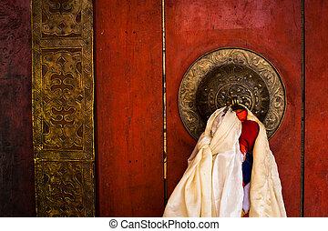 門, 修道院, 佛教徒, 印度, temple., 老