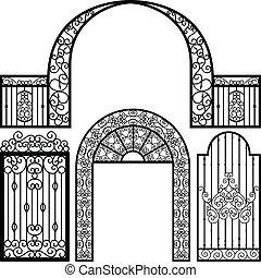 門, 入口, ドア, フェンス, 型