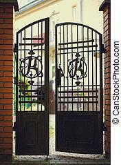 門, 入口, 黒, 鉄, れんが, 細工された
