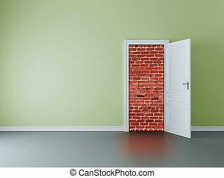 門, 到, 磚牆