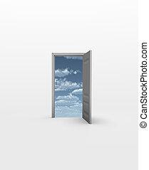 門, 打開, 到, 天空, 在, 白色