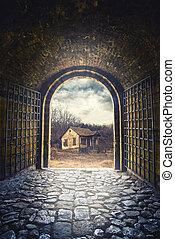 門, 打開, 到, 路, 主要, 到, an, 老, 被放棄, 房子