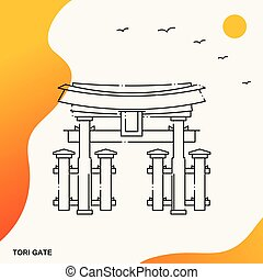 門, 旅行, tori, テンプレート, ポスター
