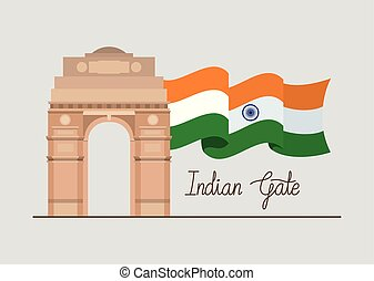門, 旗, indian, 寺院