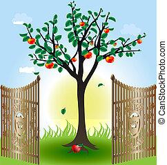 門, 木, アップル