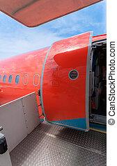 門, 民用, 大, 繪, 飛機, 打開, 紅色