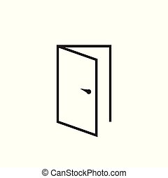 門, 矢量, 圖象, 在 線, style., 出口, icon., 打開門, illustration.