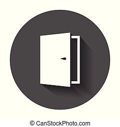門, 矢量, icon., 出口, icon., 打開門, 插圖, 由于, 長, shadow.