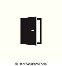 門, 矢量, icon., 出口, icon., 打開門, illustration.