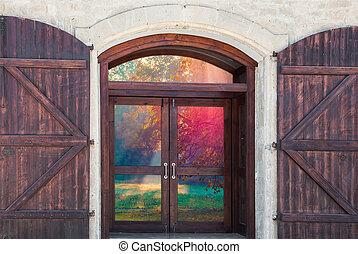 門, 窓, 光景, 朝