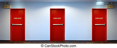 門, 緊急事件, 火, color., 出口, 紅色
