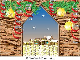 門, 背景, 冬, village., クリスマス