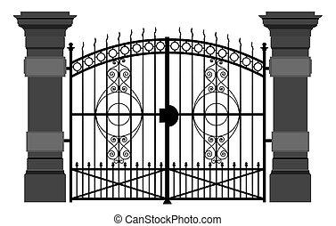門, 鉄, イラスト, 細工された