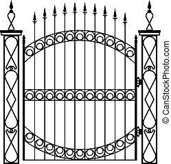 門, 鉄, 細工された, 柱