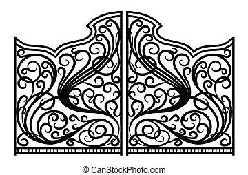 門, 鉄, 装飾, 美しい