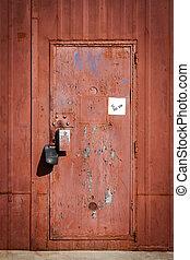 門, 錆ついた, ドア, 金属, 赤