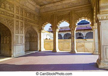 門, uttar pradesh, 城砦, amar, agra, 赤, インド, singh