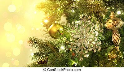 閃閃發光, 樹, 背景, 裝飾, 聖誕節