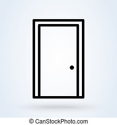 閉じられた戸, イラスト, アイコン, ベクトル, ライン。, デザイン, 現代