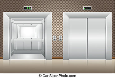 閉じられた, エレベーターのドア, 2, 開いた