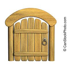 閉じられた, 木製の戸