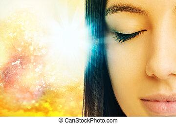 閉じられた, 目, 女, 瞑想する