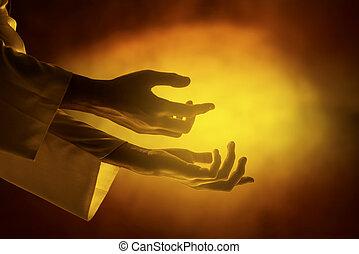 開いた, やし, キリスト, 手, イエス・キリスト