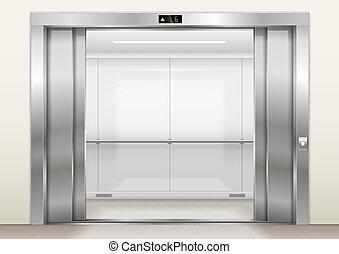 開いた, エレベーターのドア