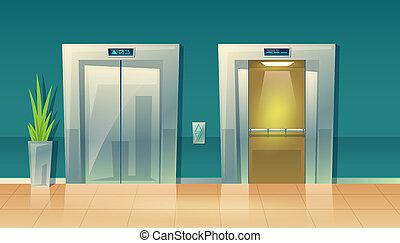 開いた, エレベーター, 閉じられた, 空, 漫画, 玄関, -