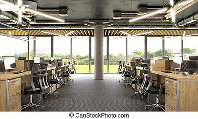 開いた, オフィス, interior., イラスト, 3d