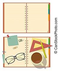 開いた, カップ, ペーパー, ガラス, 文房具, ノート, ブランク, 鉛筆, coffee.