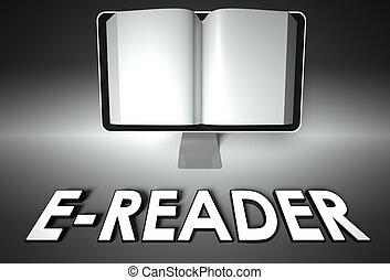 開いた, スクリーン, 本, e-reader, e 勉強