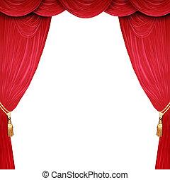 開いた, ステージ, 背景, 白