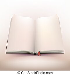 開いた, ノート, デザイン, 3d