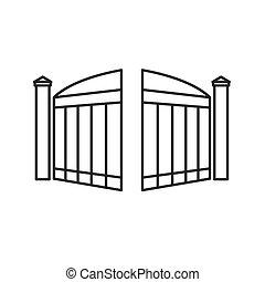 開いた, ベクトル, 現代, gate-, イラスト, 黒