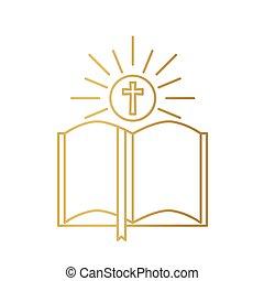 開いた, ベクトル, 聖書, 本, icon-, イラスト