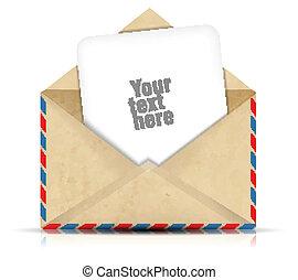 開いた, ペーパー, 封筒