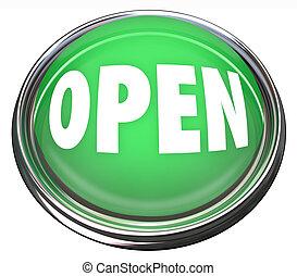 開いた, ラウンド, 緑, ボタン, 開始, ビジネス, ∥あるいは∥, 出版物, 始まるため