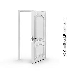 開いた, 上に, ドア, 白い背景