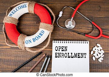 開いた, 医者の, enrollment., ライフブイ, テキスト, 聴診器
