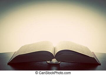 開いた, 古い, 本, ライト, から, above., ファンタジー, 想像力, 教育