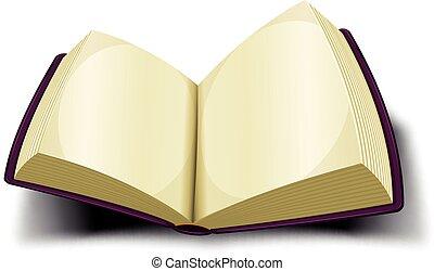 開いた, 大きい本, ブランク, ページ, アイコン